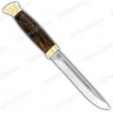 """Нож """"Финка-3"""". Рукоять кап ореховый. Латунь"""