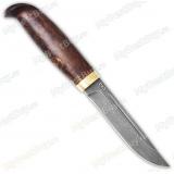 """Нож """"Финка lappi"""". Рукоять стабилизир. карельская береза. Латунь. Белый дамаск"""