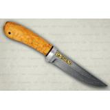 """Нож """"Лиса"""" подарочный. Рукоять карельская береза. Алюминий. Белый дамаск"""