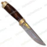 """Нож """"Лиса"""" подарочный. Дамаск. Рукоять кап ореха"""