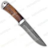 "Нож ""Лиса"". Рукоять орех. Алюминий. Дамаск"