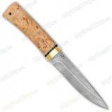 """Нож """"Пескарь"""". Рукоять карельская береза экстра. Латунь. Белый дамаск"""