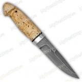 """Нож """"Хаски"""". Рукоять карельская береза. Алюминий. Белый дамаск"""