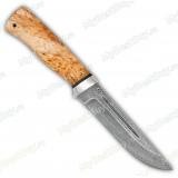 """Нож """"Бекас"""". Рукоять карельская береза. Алюминий. Белый дамаск"""