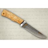 """Нож """"Бекас"""" подарочный. Рукоять карельская береза. Алюминий. Белый дамаск"""