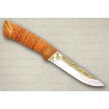 """Нож """"Бекас"""" подарочный. Рукоять береста, кап. Золочение клинка"""