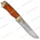 """Нож """"Бекас"""" подарочный. Рукоять карельская береза. Белый дамаск. Золочение"""