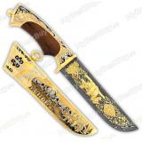 """Нож подарочный """"Вавилон"""". Сюжет """"Медведи"""". Дамаск"""