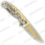 """Нож складной подарочный «Флиппер». Сюжет """"Цапля"""". Подшипник"""