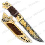 """Нож подарочный """"Охотник"""". Дамаск. Резная рукоять"""