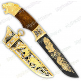 """Нож подарочный """"Егерь"""". Сюжет """"Горные львы"""". Дамаск"""