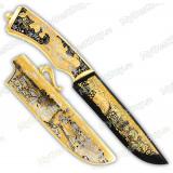 """Нож подарочный """"Егерь"""". Сюжет """"Олени"""". Дамаск"""