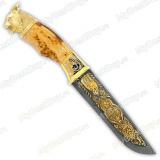 """Нож подарочный """"Егерь"""". Сюжет """"Рысь"""". Дамаск"""