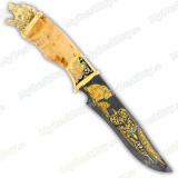 """Нож подарочный """"Айс"""". Сюжет """"Медведь"""". Дамаск"""