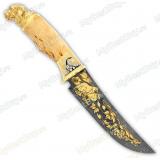 """Нож подарочный """"Мангуст"""". Сюжет """"Собаки"""". Дамаск"""
