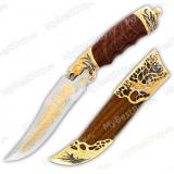 """Нож подарочный """"Пума"""". Рукоять и ножны орех. Сюжет """"Волки"""""""
