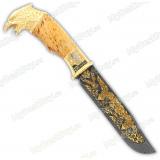 """Нож подарочный """"Тайга"""". Сюжет """"Орел"""". Дамаск"""