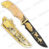 """Нож подарочный «Златоуст». Сюжет """"Медведь"""". Дамаск"""