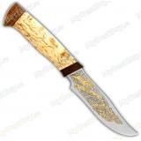 """Нож """"Багира 2"""". Рукоять карельская береза. Позолота"""