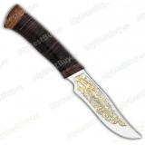 """Нож """"Багира 2"""". Рукоять кожа. Золочение"""