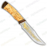 """Нож """"Багира"""". Рукоять карельская береза. Клинок позолота"""