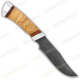 """Нож """"Багира"""". Рукоять береста. Дамаск. Алюминий"""