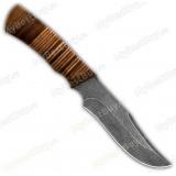 "Нож ""Багира"". Рукоять кожа. Дамаск"