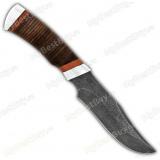 """Нож """"Багира"""". Рукоять кожа. Дамаск. Алюминий"""