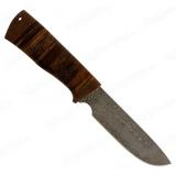 """Нож """"Медвежий-3"""". Клинок белый дамаск. Рукоять кожа"""