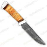 """Нож """"Цезарь"""". Рукоять береста. Дамаск. Алюминий"""