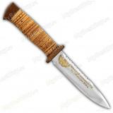"""Нож """"Диверсант"""". Гравировка на заказ. Рукоять береста. Клинок позолота. Пила"""