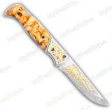 """Нож складной """"Оса"""". Карельская береза. Золочение"""
