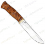 Нож кованый №4. 110х18м-шд. Рукоять кап каштана. Латунь