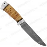 "Нож ""НС-27"". Клинок белый дамаск. Рукоять береста. Алюминий"
