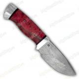 """Нож """"Бобр"""". Рукоять стабилизированная карельская береза. Алюминий. Белый дамаск"""