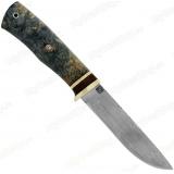 Нож-16. Клинок белый дамаск. Кап стабилизированный. Зеленый