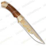 """Нож """"Кузюк"""" подарочный. Рукоять березовый кап. Золочение"""