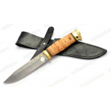 """Нож """"Баджер-2"""". Рукоять береста. Латунь. Дамаск. Золочение клинка"""