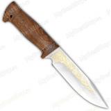 """Нож """"Баджер"""". Рукоять орех. Золочение клинка"""
