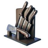 """Набор """"Ножи кухонные с топориком"""". Цельнометаллические. Текстолит. Золочение"""