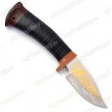 """Нож """"Малек"""". Рукоять кожа. Золочение"""