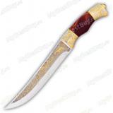 """Нож """"НС-13"""" подарочный. Рукоять березовый кап. Золочение"""