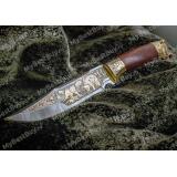 """Нож """"НС-01"""" подарочный. Березовый кап. Золочение. Литье медведь"""