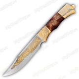 """Нож """"НС-01"""" подарочный. Березовый кап. Золочение"""