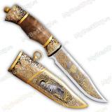 """Нож """"НС-01"""" подарочный. Березовый кап. Металлические ножны. Золочение"""