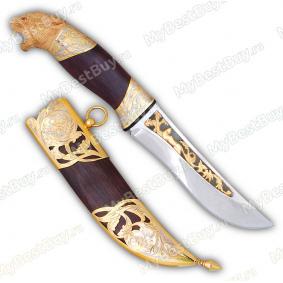 """Нож """"НС-23"""" подарочный. Рукоять орех. Комбинированные ножны. Золочение"""