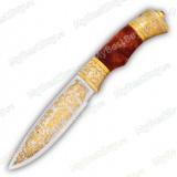 """Нож """"НС-25"""" подарочный. Рукоять березовый кап. Золочение"""
