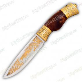 """Нож """"НС-27"""" украшенный. Рукоять березовый кап. Золочение"""