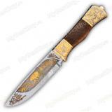 """Нож """"НС-02 подарочный"""". Рукоять березовый кап. Золочение"""