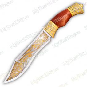 """Нож """"НС-31"""" подарочный. Рукоять березовый кап. Золочение"""